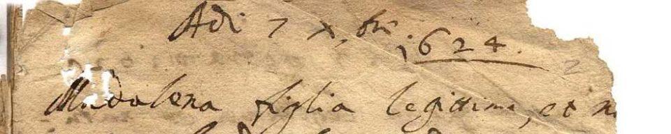 Porpetto, primo registro dei nati (particolare).